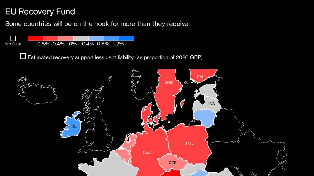 Harta țărilor care au cel mai mult de câștigat de pe urma planului de salvare al UE, de 500 de mld de $