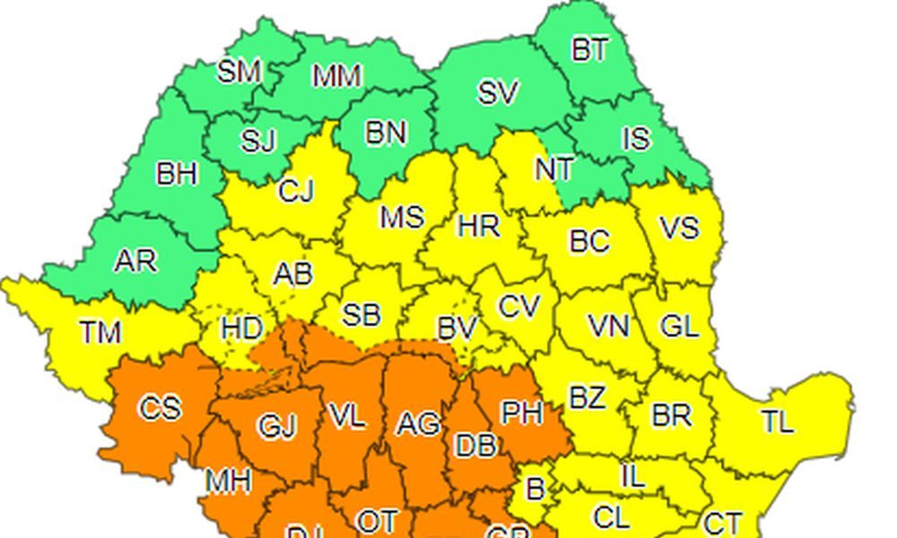 Cod portocaliu de vijelii şi grindină. În ce zonă a României?