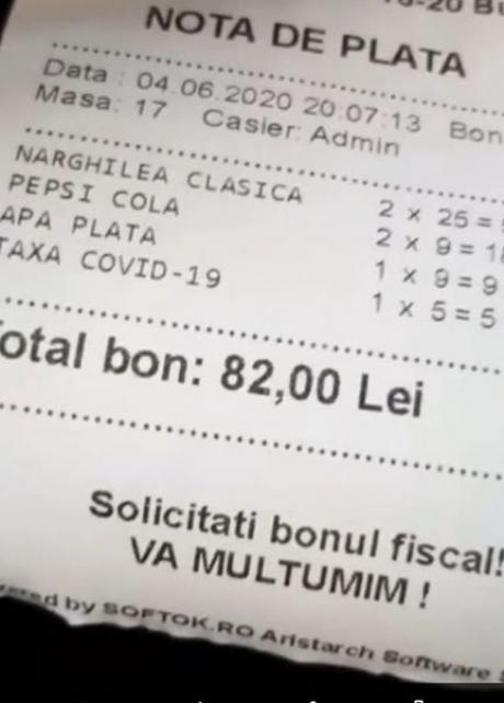 Taxa COVID, pe notele de plată din România. Câţi bani dai în plus la restaurant şi ce spune ANAF
