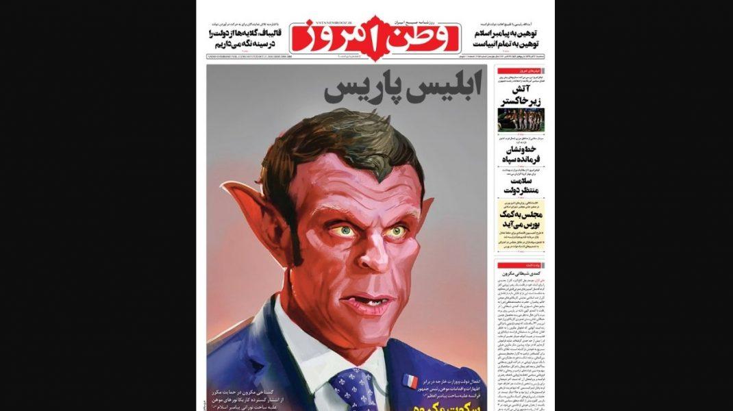 """""""Diavolul din Paris"""". O caricatură cu Macron, pe prima pagină a unui ziar din Iran"""