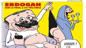 Președintele Turciei, pe coperta Charlie Hebdo: Erdogan apare în chiloți în timp ce ridică fusta unei femei