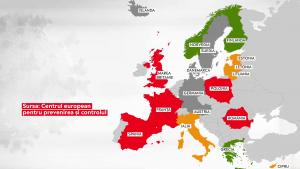 Risc epidemic în Europa. Peste jumătate din statele UE sunt în zona roșie