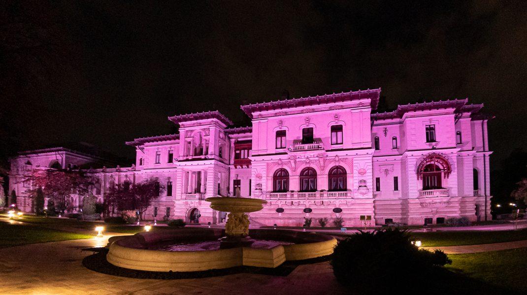 GALERIE FOTO: Palatul Cotroceni a fost iluminat în roz, pentru a marca Ziua luptei contra cancerulului de sân