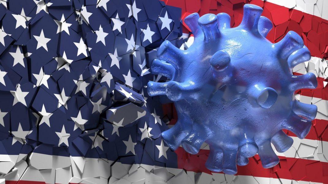 ilustratie cu un coronavirus care distruge steagul sua.