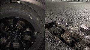 Mai mulți șoferi și-au distrus mașinile pe proaspăt inaugurata centură a Bacăului. Gropile din asfalt sfâșie anvelopele. FOTO