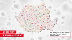 Cele trei județe din România care se află în scenariul verde. Au o incidență mai mică de 1.5 la mia de locuitori