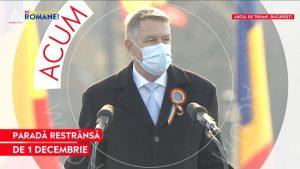 Iohannis: Niciodată în ultimele decenii n-am întâmpinat 1 Decembrie cu atâta îngrijorare și strângere de inimă. Eroii acestei zile sunt medicii și victimele COVID-19