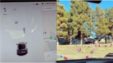 """VIDEO. O Tesla a surprins """"o fantomă"""" într-un cimitir cu senzorii săi de mișcare"""