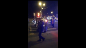 VIDEO. Mașină a Poliției, răsturnată în Capitală. Un jandarm a fost rănit ușor