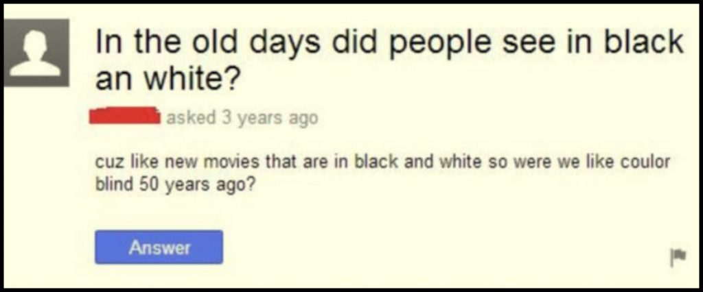 Întrebare pe Yahoo Answers despre filmele alb-negru
