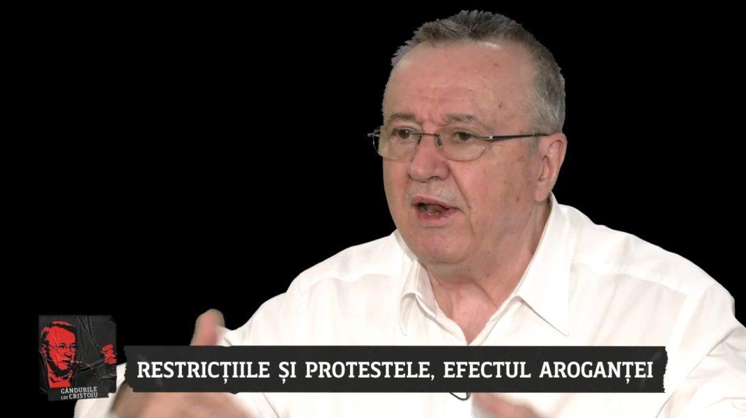 Ion Cristoiu, despre proteste: Dacă ies cu iubita, mă prinde și mă sancționează, dar, dacă mă duc la demonstrații cu iubita și cu prietenii, nu mă sancționează