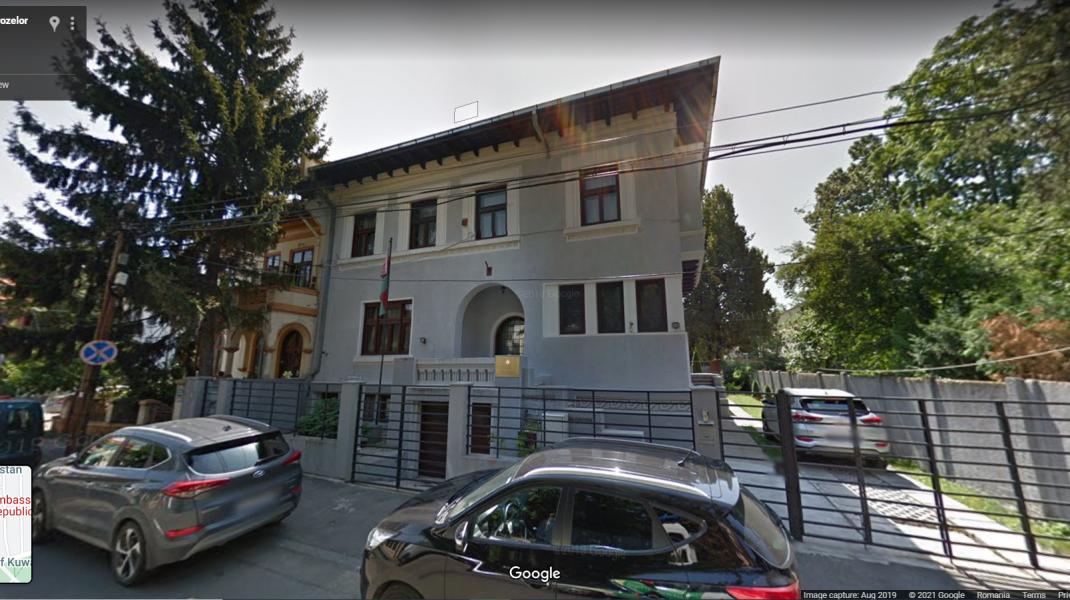 Ambasada Belarusului în România, văzută pe Google Maps.