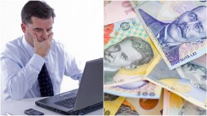 Colaj foto cu un bărbat cu laptop și un tanc cu bani