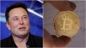 Elon Musk privește criptomoneda Bitcoin.