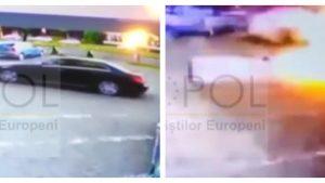 Primele imagini cu mașina explodată la Arad.