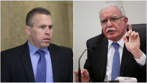 Gilad Erdan și Riyad al-Malki se privesc încruntați.