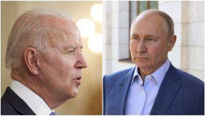 Joe Biden și Vladimir Putin se privesc încruntați