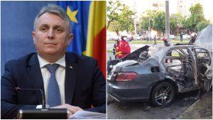 Colaj foto cu Lucian Bode și mașina care a explodat la Arad, mașină în care se afla Ioan Crișan.