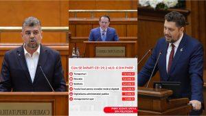 Marcel Ciolacu și Claudiu Târziu se uită încruntați la Florin Cîțu și la prezentarea bugetului PNRR.