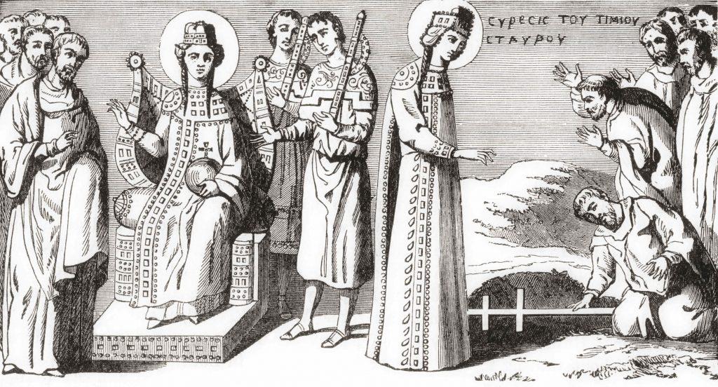 Sfânta Elena descoperă crucea pe care a fost răstignit Iisus Hristos.