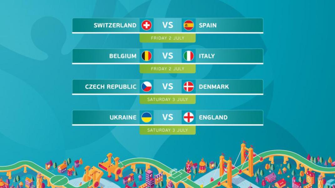 Programul complet al sferturilor de finală de la Euro 2020. Foto: UEFA