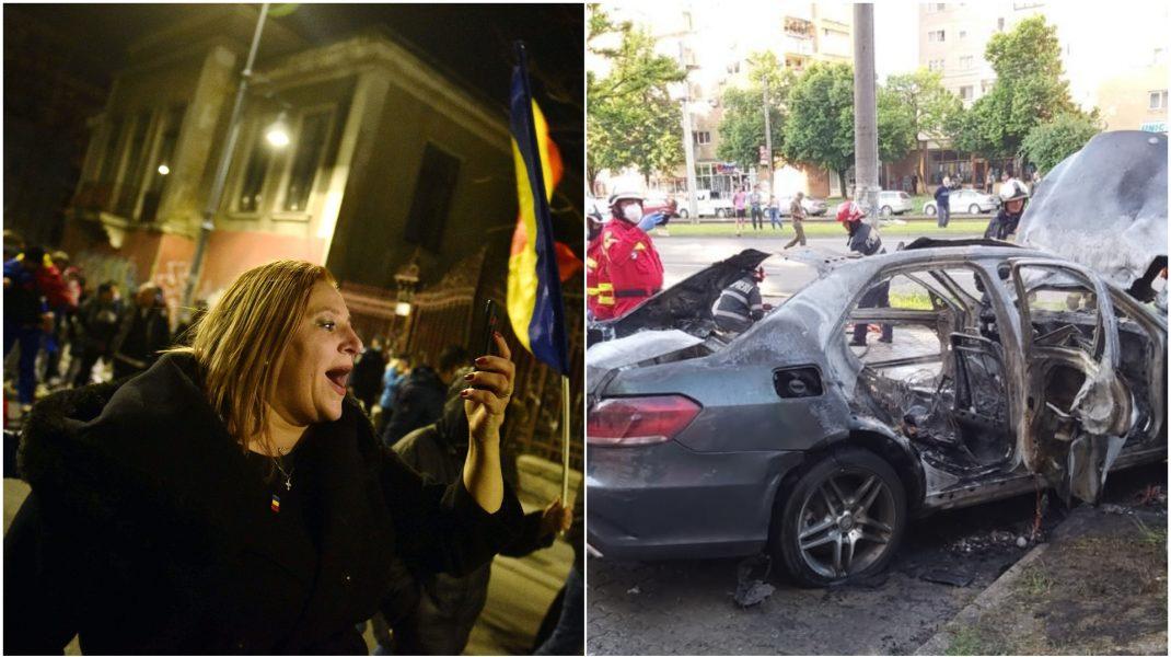 Diana Șoșoacă și mașina care a explodat la Arad.