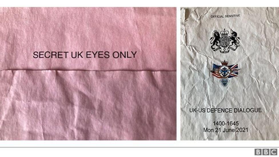 Prima pagină a documentelor clasificate găsite într-o stație de autobuz din Marea Britanie. Foto: BBC