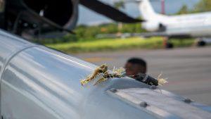 Elicopterul președintelui columbian Iván Duque, lovit de gloanțe când zbura aproape de Venezuela. Foto: Presidencia de la República de Colombia