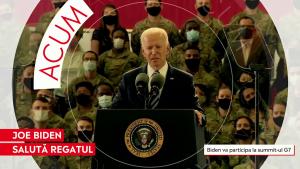 Joe Biden în timpul primului său discurs după aterizarea în Marea Britanie.