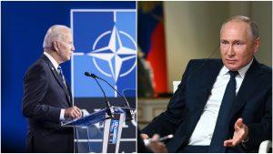 Colaj foto cu Joe Biden și Vladimir Putin.
