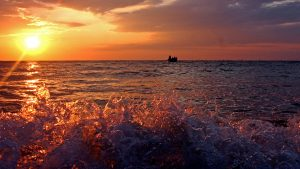 Valuri în apusul soarelui.
