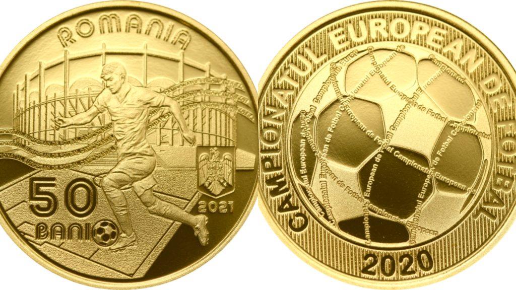 Moneda EURO 2020 pe care o va lansa BNR, cu fața și spatele.