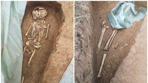 Sit arheologic, cu oseminte umane, găsit în timpul lucrărilor pentru drumul expres Craiova - Pitești. VIDEO
