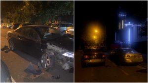 Două mașini implicate într-un accident din București.