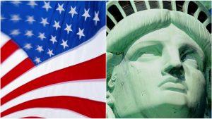 Colaj foto cu drapelul Americii și Statuia Libertății.