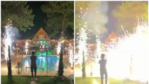 VIDEO: Un bărbat din Dolj a fost lovit în abdomen de artifici, la o petrecere.