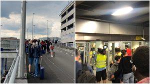 Oameni evacuați în aeroport Bruxelles.