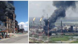 Explozie și incendiu la Rafinăria Petromidia. Foto: Aleph News și Agent Green