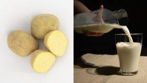 Cartofi tăiați și un pahar cu lapte.