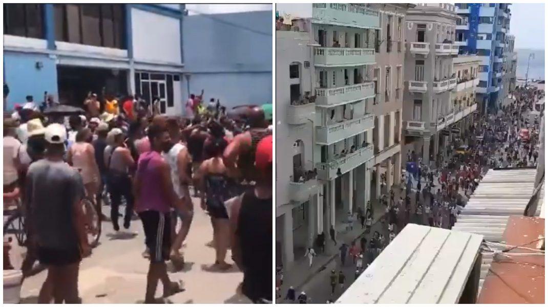Au avut loc proteste în Cuba. Foto: capturi Twitter