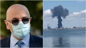 Colaj cu Raed Arafat care se uită la explozia de la Petromidia.