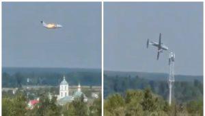 Un localnic a surprins momentul prăbușirii avionului.