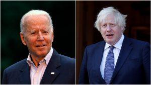 Colaj foto cu Joe Biden și Boris Johnson.