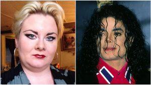 Colaj foto cu o femeie din SUA și cu Michael Jackson.