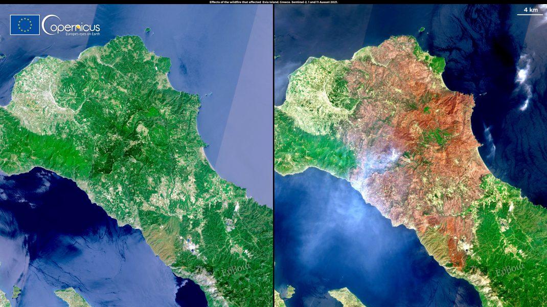 Insula Evia pe 1 și 11 august 2021. Foto: copernicus.eu