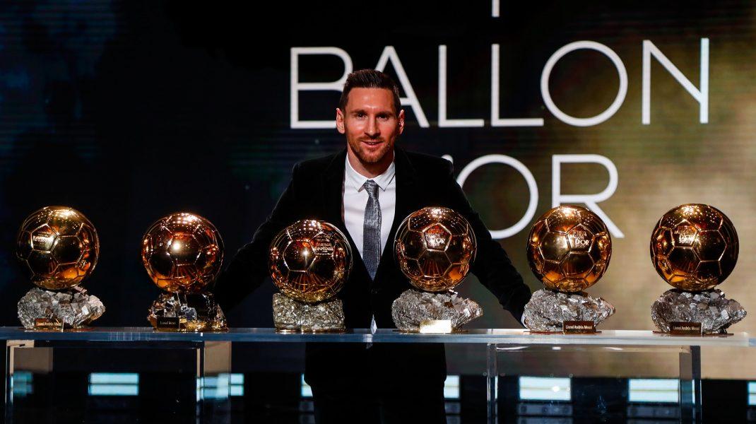 Lionel Messi și cele șase Baloane de aur câștigat cu Barcelona. Foto: FC Barcelona