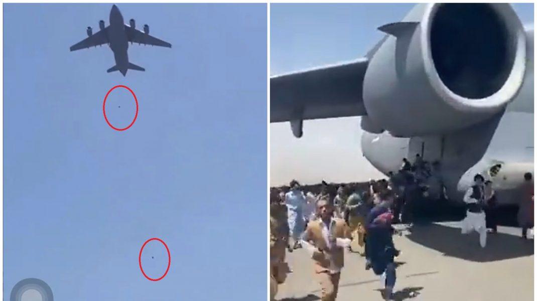 Imagini dramatice în Kabul: Doi oameni au căzut dintr-un avion comercial care a decolat din Afganistan, în timp ce la sol oamenii aleargă lângă o aeronavă americană C-17.