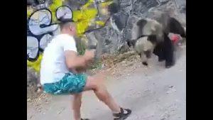 Momentul șocant în care un bărbat este atacat de un urs în timp ce îl pozează pe marginea unui drum. VIDEO