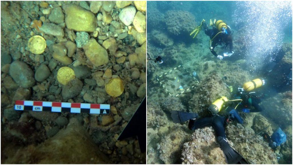 Arheologi care analizează monede de aur din perioada Imperiului Roman.