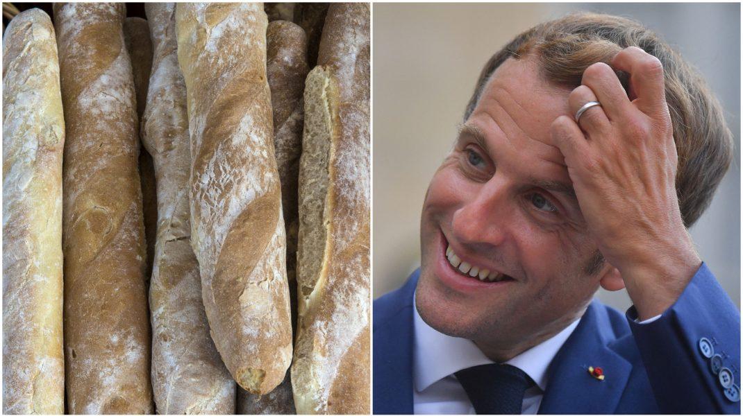 Colaj foto cu Emmanuel Macron și baghete de pâine.